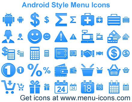 Android Style Menu Icons Screenshot