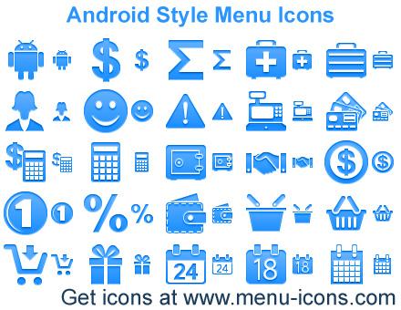 Android Style Menu Icons screenshot