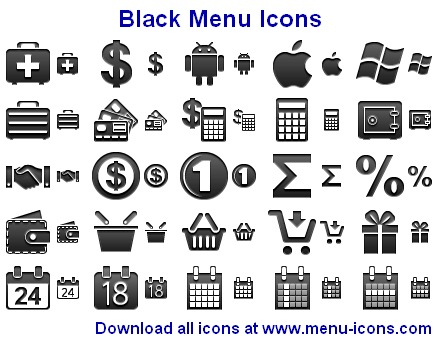 Black Menu Icons screenshot