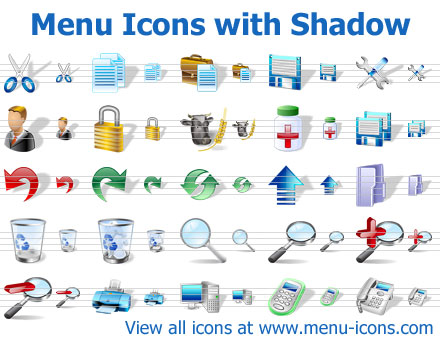 A collection of shadowed menu icons for any application or website interface quick Screen Shot